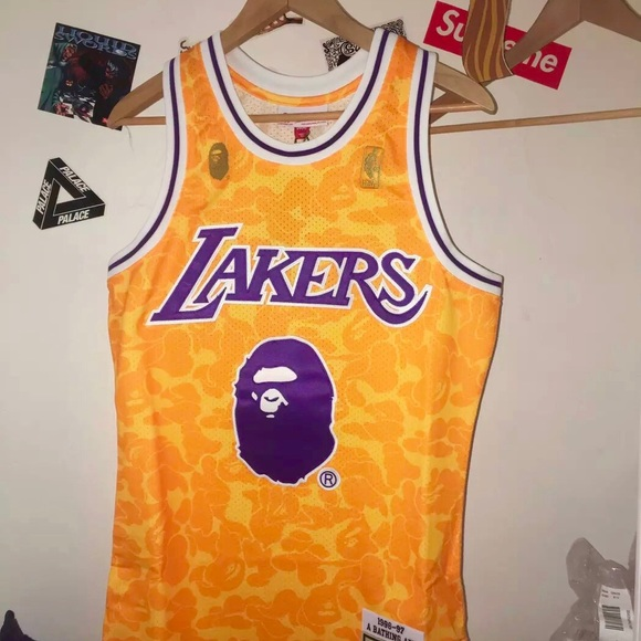 separation shoes 95424 ca838 Authentic BAPE x Mitchell & Ness NBA Lakers Jersey